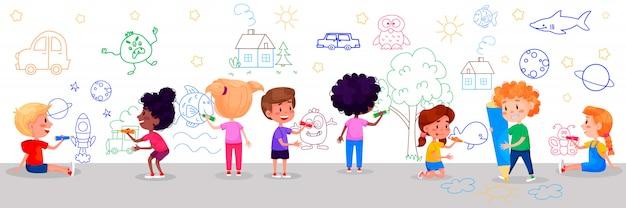 Postacie Dzieci Rysują Na Białych ścianach. Międzynarodowy Dzień Dziecka. Letnie Zajęcia Dla Dzieci. Ilustracje Premium Wektorów