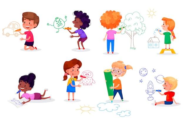 Postacie dzieci rysują na białych ścianach. międzynarodowy dzień dziecka. letnie zajęcia dla dzieci. ilustracje