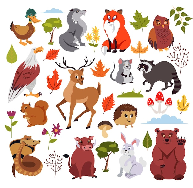 Postacie dzikich zwierząt leśnych z planami, grzybem i drzewem. grafika do książki dla dzieci. ilustracja kreskówka na białym tle