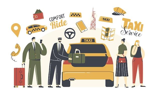 Postacie dzwonią do taksówki. kierowca w mundurze umieść bagaż pasażerów w żółtej kabinie.