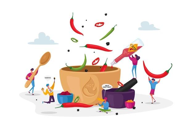 Postacie gotujące jedzenie z gorącym chili