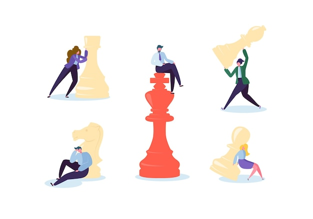 Postacie grające w szachy. planowanie biznesowe i koncepcja strategii. biznesmen i bizneswoman z szachy. konkurencja i przywództwo.
