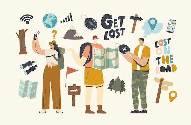 Postacie gubią się w lesie. osoby szukające kierunku za pomocą mapy, kompasu i nawigacji satelitarnej. przygoda na świeżym powietrzu, rekreacja piesza, podróże na letnie wakacje. liniowa ilustracja wektorowa