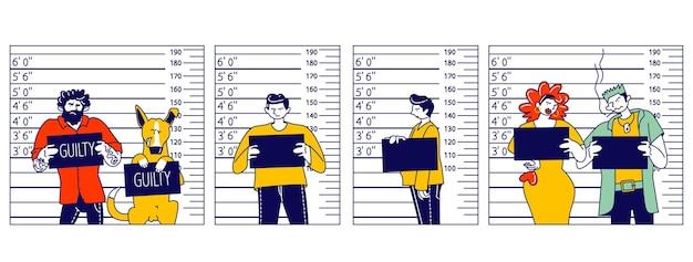 Postacie karnego mugshot przód, widok z boku na tle skali pomiaru na posterunku policji. zdjęcie aresztowani mężczyźni, kobieta i pies z deską pozują do identyfikacji. ilustracja wektorowa ludzi liniowych