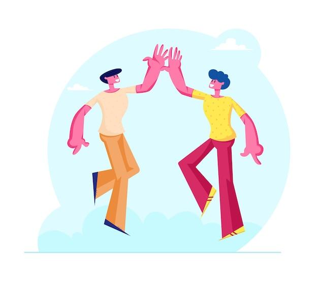 Postacie kilku męskich przyjaciół biorą sobie piątkę jako symbol przyjaźni i solidarności. płaskie ilustracja kreskówka