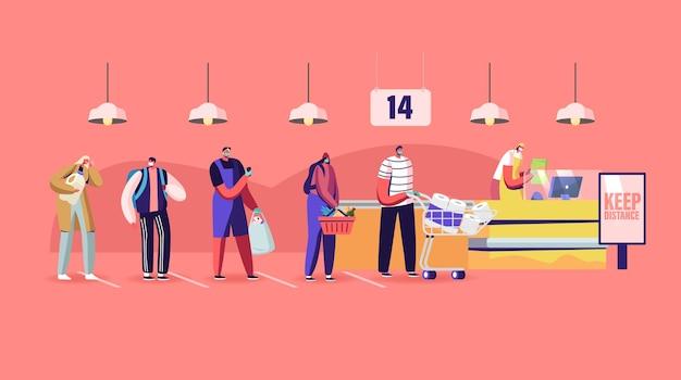 Postacie klientów w maskach medycznych stoją w kolejce w sklepie spożywczym z towarami w wózku na zakupy, zachowując dystans