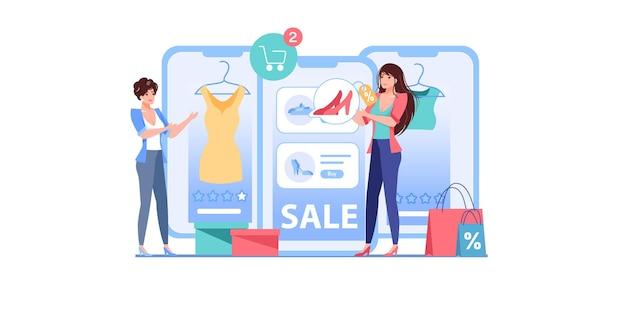 Postacie kobiece kreskówka płaski używa ilustracji rabaty zakupy online