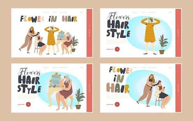 Postacie kobiece udekoruj zestaw szablonów strony docelowej kwiaty do włosów. kobiety robią fryzurę z wieńcem kwiatów na ślub, świętowanie w salonie piękności lub w domu. ilustracja wektorowa kreskówka ludzie