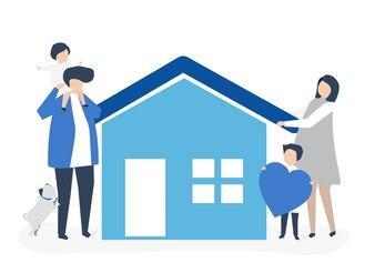 Postacie kochająca rodzina i ich domowa ilustracja