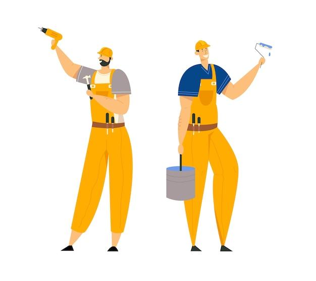 Postacie konstruktorów w odzieży roboczej. inżynierowie budowlani z narzędziami do wyposażenia budynku. architekt, mechanik, malarz, budowniczy.