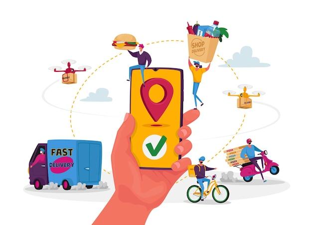 Postacie korzystają z usługi dostarczania jedzenia online. ręka ze smartfonem i aplikacją do zamawiania i dostarczania paczek konsumentom