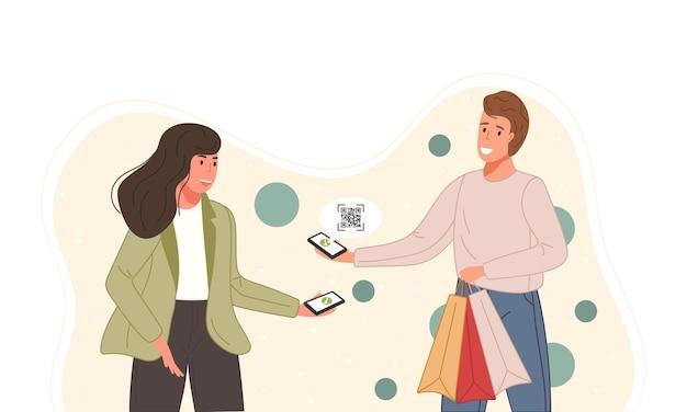 Postacie korzystające z systemu płatności mobilnych ze zeskanowanym kodem qr koncepcja zakupów online