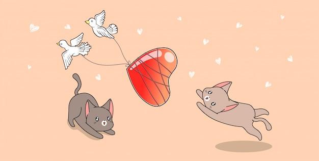 Postacie kotów łapią ptaki, które ciągną serce