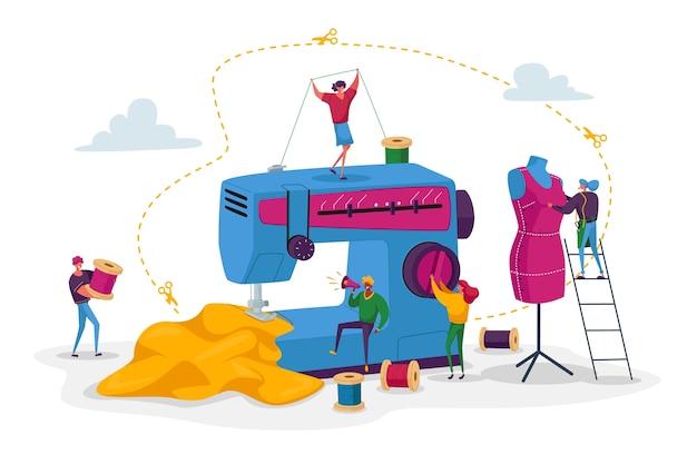 Postacie krawcowe tworzą strój i ubiór na maszynie do szycia