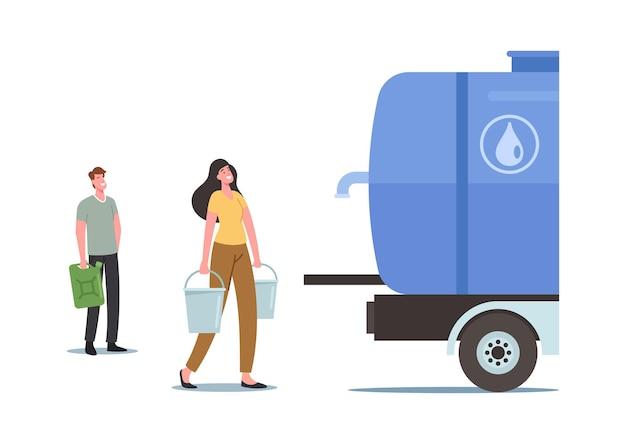 Postacie kupujące czystą wodę pitną w zbiorniku zewnętrznym z kranem. mężczyzna i kobieta z wiaderkami w rękach stoją w kolejce po zakup świeżej wody na ulicy. ilustracja wektorowa kreskówka ludzie
