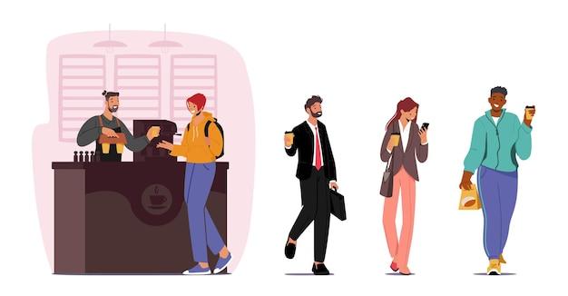Postacie kupujące i pijące kawę na wynos lub napoje na wynos w jednorazowych kubkach kartonowych. postacie męskie i żeńskie rano poczęstunek, przerwa na kawę w biurze. ilustracja wektorowa kreskówka ludzie