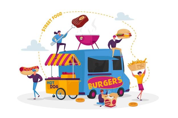 Postacie kupujące street food concept