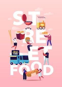 Postacie kupujące street food ilustracja