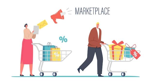 Postacie kupujących w wyprzedaży sezonowej lub zniżce rynkowej. wesołych zakupoholików wózek pchający z zakupami i prezentami. szczęśliwy mężczyzna kobieta z paczkami, zabawa na zakupy