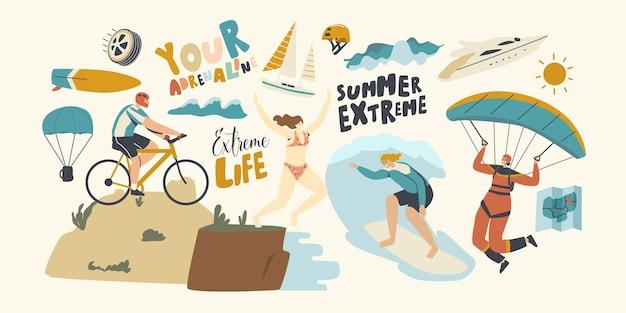 Postacie lato sporty ekstremalne surfing, paralotniarstwo, kolarstwo górskie, skoki z krawędzi. sport ludzie relaks, wakacje letnie, rekreacja sport xtreme rekreacja. liniowa ilustracja wektorowa