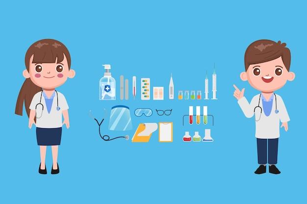 Postacie lekarza do leczenia pacjenta w szpitalu