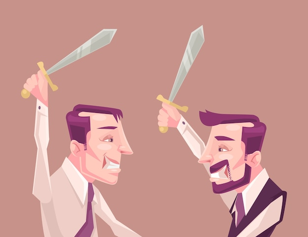 Postacie ludzi biznesu walczą.