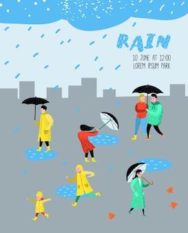Postacie ludzi chodzących w deszczu plakat