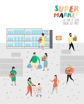 Postacie ludzi na zakupy w supermarkecie z plakatem z torbami i wózkami