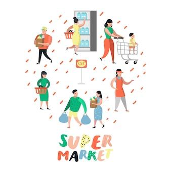 Postacie ludzi na zakupy w supermarkecie z torbami i wózkami