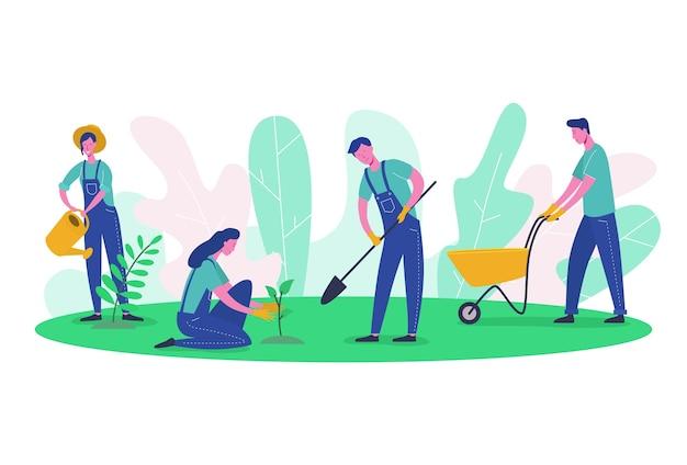 Postacie ludzi ogrodnik i rolnik pracują w ogrodzie. kobieta harvest tree, kobieta sadzenie zieleni, mężczyzna kopanie. płaski cartoon czystej ekologii i narzędzi ogrodniczych