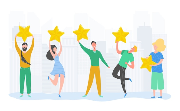 Postacie ludzi posiadających złote gwiazdy. mężczyźni i kobiety oceniają usługi i wrażenia użytkowników. ocena jury w konkursie. cztery gwiazdki pozytywna recenzja lub dobra opinia. ilustracja kreskówka