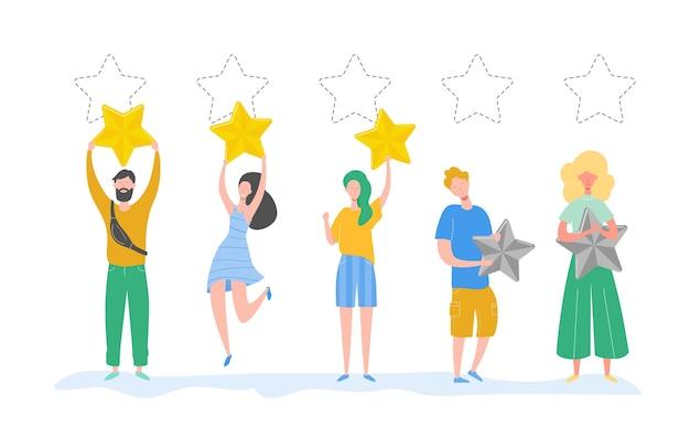 Postacie ludzi posiadających złote gwiazdy. mężczyźni i kobiety oceniają usługi i wrażenia użytkowników. ocena jury w konkursie. trzy gwiazdki pozytywna recenzja, niezbyt dobra opinia. ilustracja kreskówka