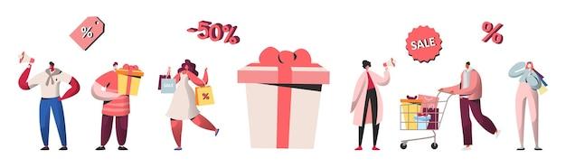 Postacie ludzi robiące zakupy na wyprzedaży, zniżki, kupujące prezenty i prezenty. zakupy online, koncepcja marketingu mobilnego i zakupu, e-commerce. ilustracja wektorowa