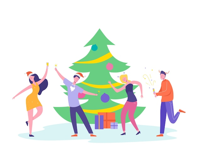 Postacie ludzi tańczą, świętują wesołych świąt i szczęśliwego nowego roku. kartka świąteczna lub plakat z zaproszeniem.