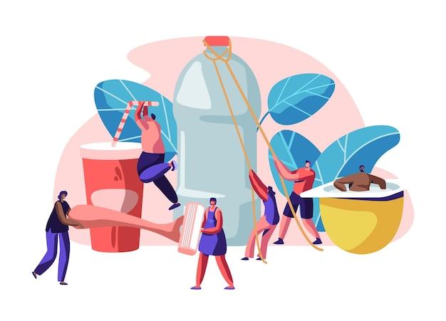 Postacie ludzi używające plastikowych przedmiotów. płaskie ilustracja kreskówka