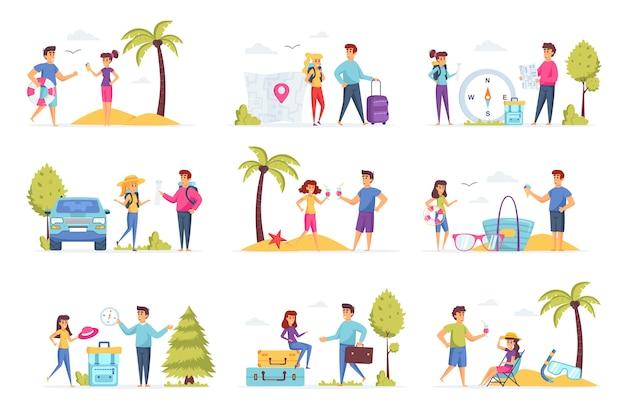 Postacie ludzi z kolekcji wakacyjnej podróży
