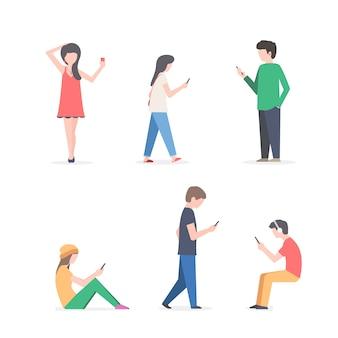 Postacie ludzi z telefonami komórkowymi