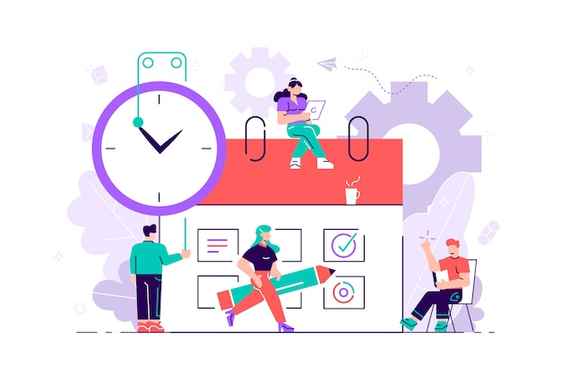 Postacie małych ludzi tworzą harmonogram online w tablecie. projektowanie graficznych zadań biznesowych w harmonogramie na tydzień.