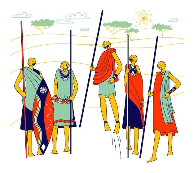 Postacie masajów, afrykańscy mężczyźni i kobiety z plemienia samburu w kenii w afryce.
