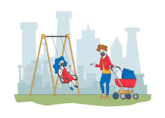Postacie matki z dziećmi w ochronnych maskach mieszkają w zanieczyszczonym mieście spacerując po ulicy