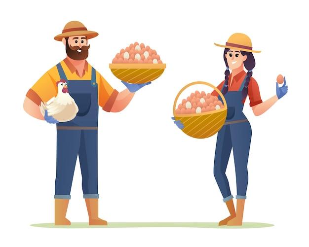 Postacie męskie i żeńskie hodowcy kurczaków trzymające jajka