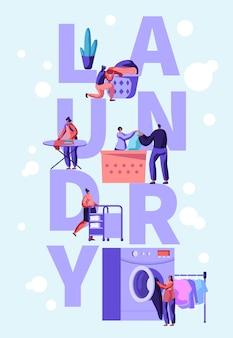 Postacie męskie i żeńskie ładują brudne ubrania do pralki w pralni publicznej. płaskie ilustracja kreskówka