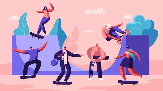 Postacie męskie i żeńskie na deskorolce. płaskie ilustracja kreskówka