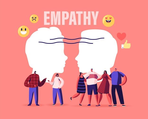 Postacie męskie i żeńskie pokazują empatię, koncepcję inteligencji emocjonalnej. umiejętności komunikacyjne, rozumowanie i perswazja, ludzie słuchają i wspierają się nawzajem, otwarty umysł, ilustracja kreskówka wektor