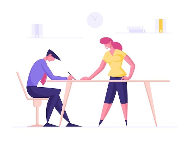 Postacie męskie i żeńskie pracownicy biura kreatywny zespół omawia problemy