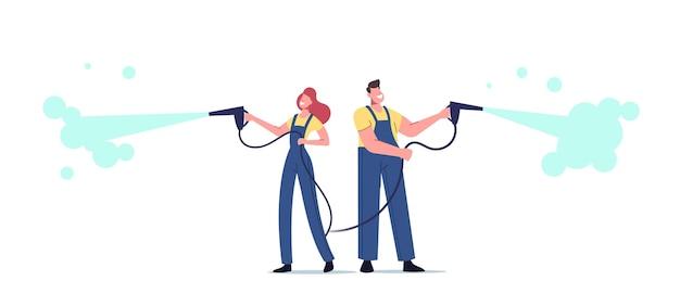 Postacie męskie i żeńskie pracują w myjni samochodowej