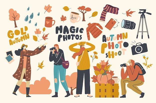 Postacie męskie i żeńskie robiące jesienne zdjęcie z opadłymi liśćmi, kwiatami i zbiorami. jesienna aktywność i czas wolny, spacery na świeżym powietrzu, hobby fotograficzne. ilustracja wektorowa ludzi liniowych
