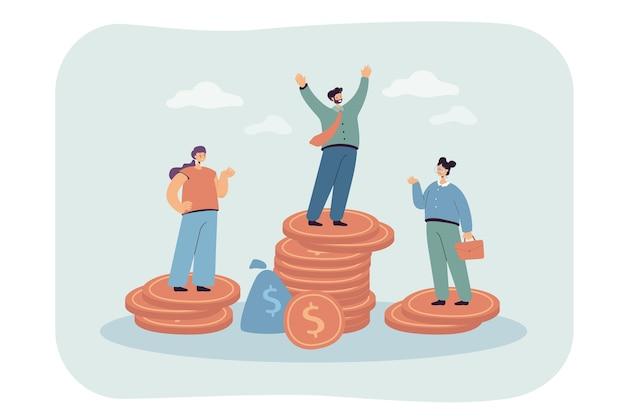 Postacie męskie i żeńskie stojące na nierównych stosach pieniędzy