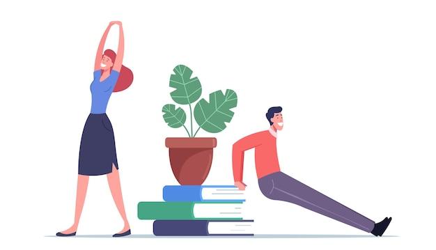 Postacie męskie i żeńskie wykonujące trening w miejscu pracy kucanie i rozciąganie ciała, ramion i nóg