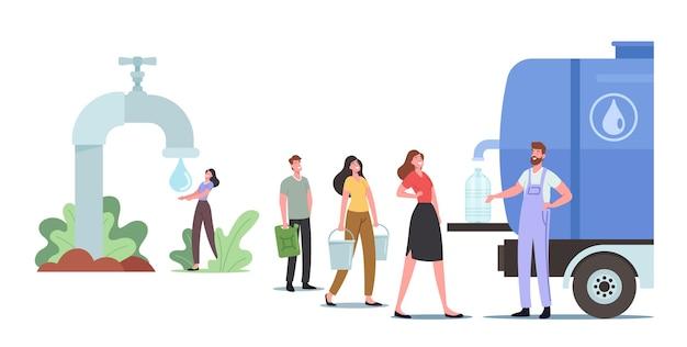 Postacie męskie i żeńskie z wiaderkami stoją w kolejce po zakup świeżej wody. ludzie kupują czystą wodę pitną w zbiorniku zewnętrznym z kranem, sprzedaż napojów pitnych. ilustracja kreskówka wektor